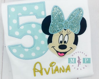 Miss Mouse Birthday Shirt - Twodles - Oh Toodles - Teal and Gold