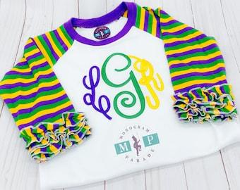 Girls Mardi Gras Stripe Ruffle Raglan- Personalized -Carnival - Mardi Gras