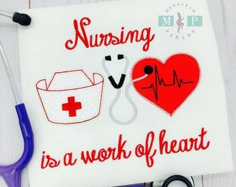 Girls Nursing Bodysuit or Shirt - Stethoscope - Heart - Hat