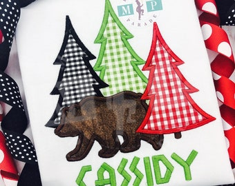 Brown Bear Christmas - Christmas shirt - christmas tree - tree farm