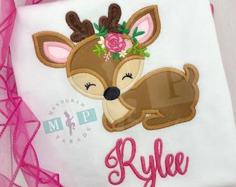 Girls Deer Shirt - Deer Appliqué - Floral Deer - Deer Hunting