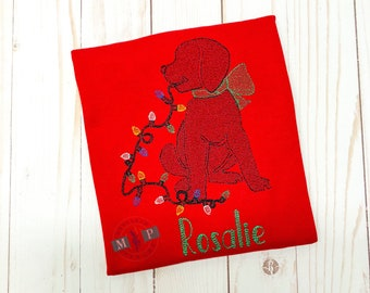 Girls Christmas Shirt - Christmas Puppy Dog - Sketch Embroidery - Dog with lights - Dog with bow - Monogram Christmas Shirt