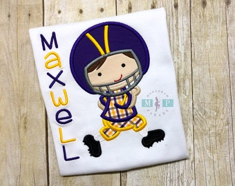 Boys football player shirt or bodysuit - football - boys football shirt  - gameday - purple and gold football player