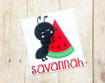 Monogram Picnic Shirt or Bodysuit- Watermelon Shirt-Ants with Watermelon