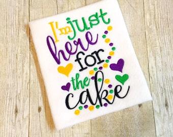 Here for Cake Bib, Bodysuit or Shirt - Girls Mardi Gras Shirt - Mardi Gras Baby - 1st Mardi Gras - King Cake - Mardi Gras Beads - Mardi Gras