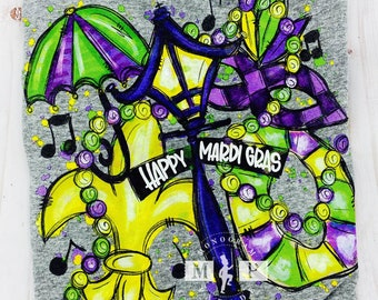 Screen Printed Mardi Gras T-shirt - Carnival Tee - Fleur de lis - Louisiana