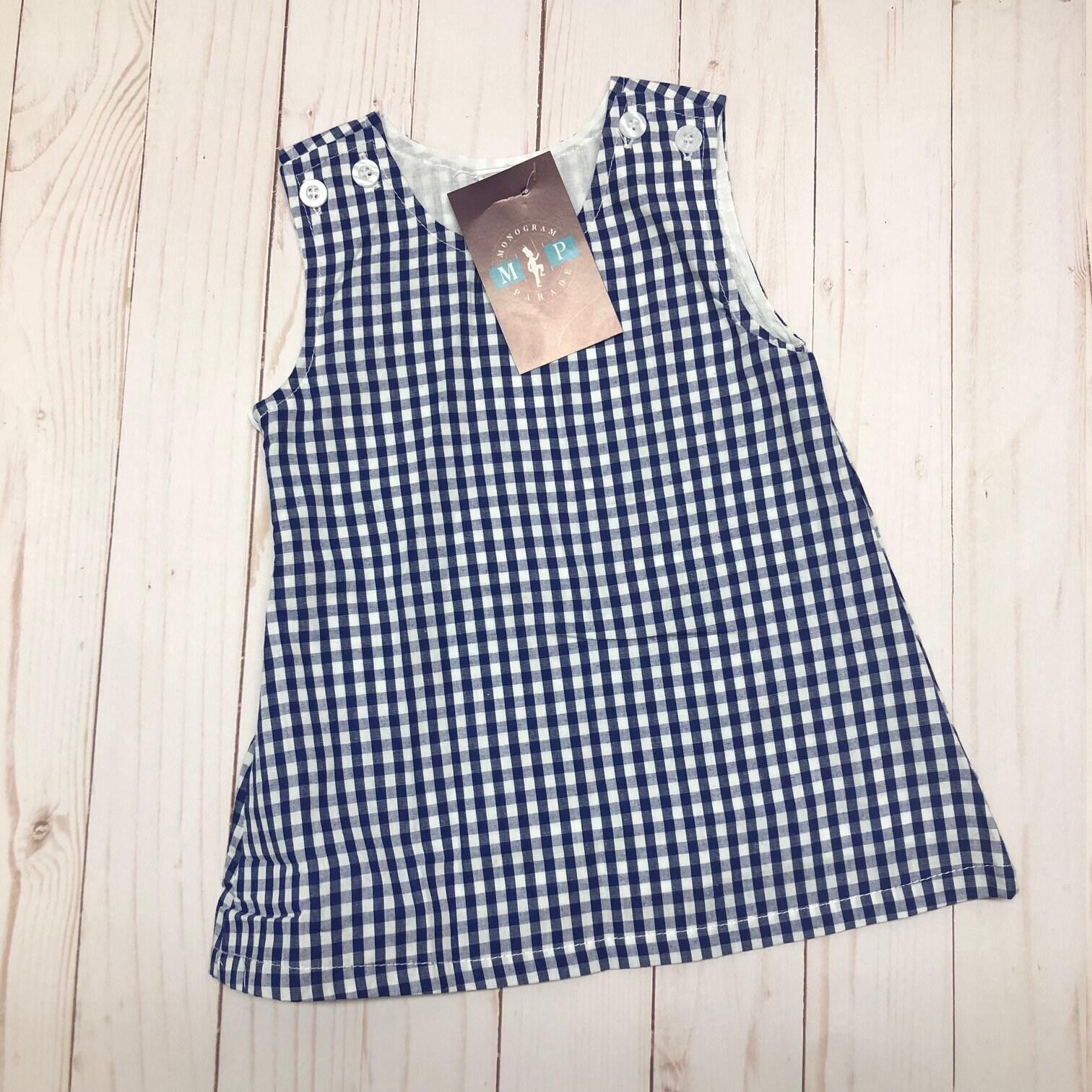 Girls Gingham Dress Monogrammed Dress Blue Gingham Girls Jumper