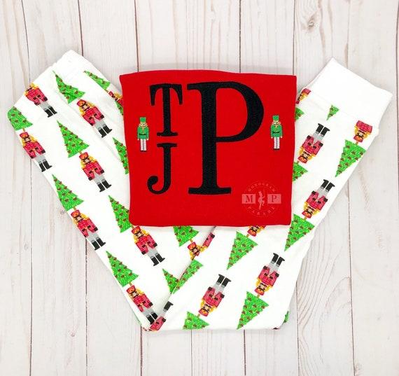 Boys Christmas Pajamas.Boys Christmas Pajamas Nutcracker Pajama Monogram Pajama Christmas Pj Monogram Pj Nutcracker Pj Infant Christmas