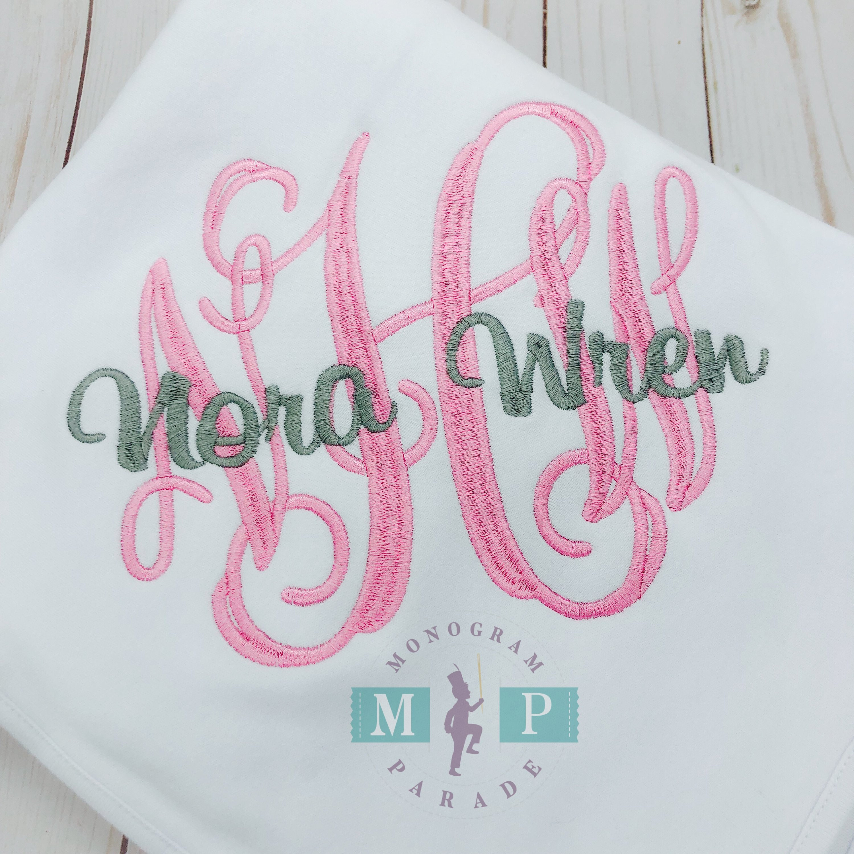 Monogram Ruffle Baby Blanket