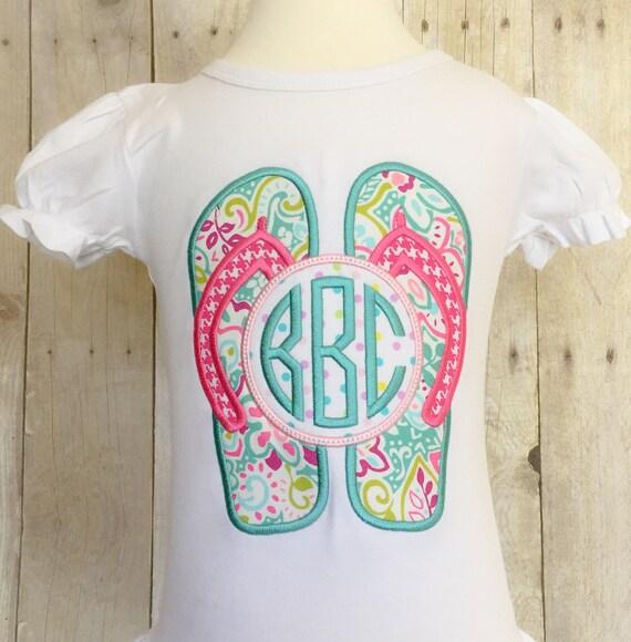 4ddd1bf6b9da Custom Monogrammed Flip Flop Girls Ruffle Bottom Shirt or