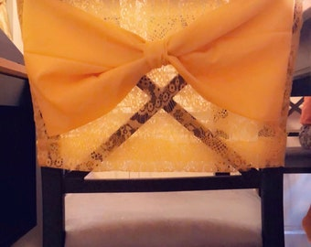 Chair Cover with Bow (any color/style available) TOP HALF ONLY: Custom made to order.