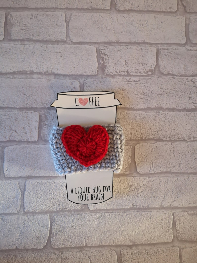 CROCHET CUP COSY heart coffee pattern crochet pattern coffee image 0