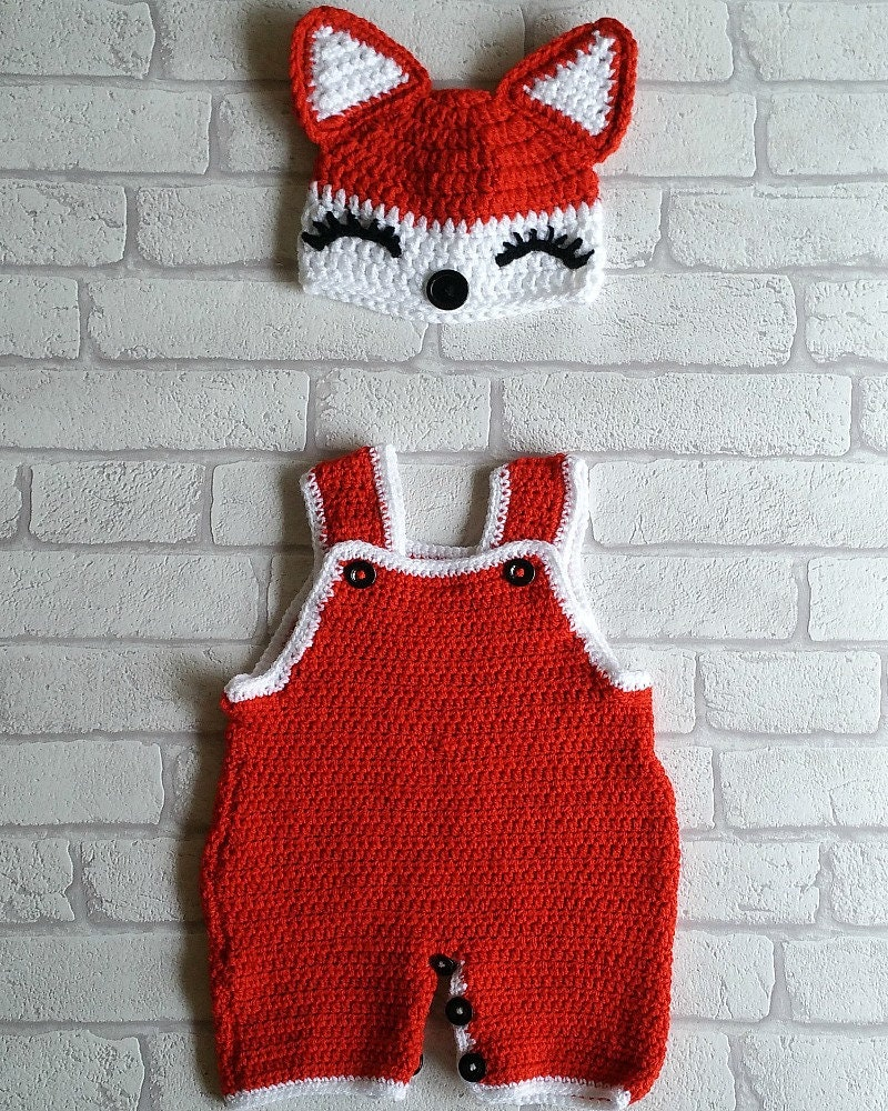 Baby Girl Fox Crochet Pattern Dungaree Set Crochet Dungaree Etsy