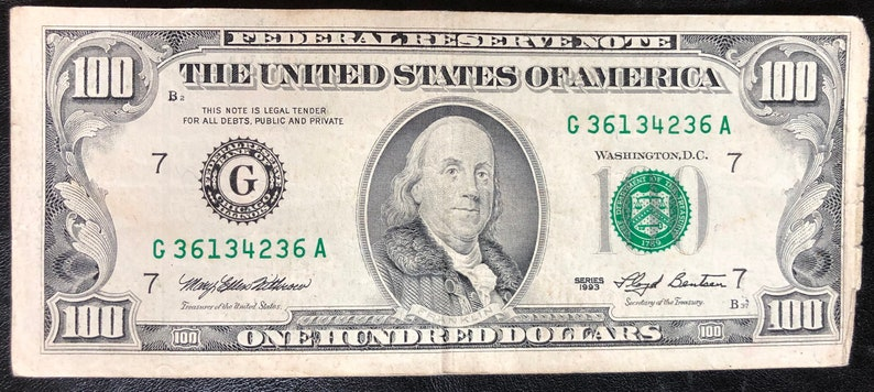 100 Dollars Federal Reserve Note Series 1993 Bank of Chicago Illinois Circulated