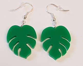 Tropical Palm Leaf Earrings - Acrylic