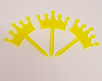 Fairytale Crown Cupcake Toppers x 3 - Acrylic