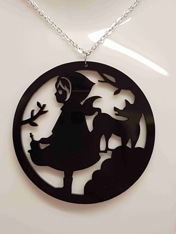 Little red riding hood and wolf acrylic necklace