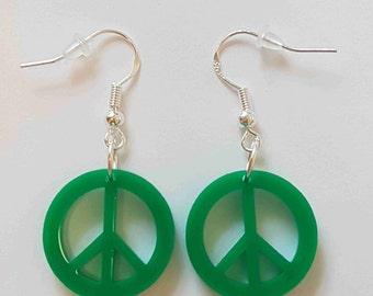 Peace Symbol Earrings - Acrylic