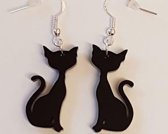 Sitting Cat Earrings - Acrylic