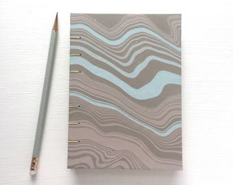 Small Marbled Journal with blank Pages - Coptic stitch, hand bound book, notebook, guest book, diary, bullet journal