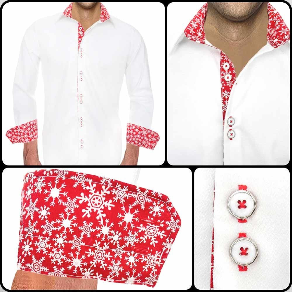 White Christmas Dress Shirt Made To Order In Usa Etsy