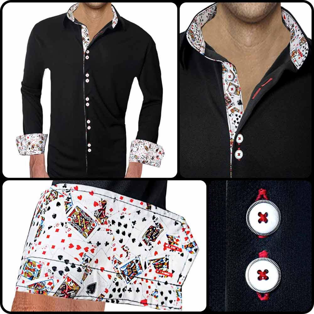 Playing Card Accent Moisture Wicking Dress Shirts Made In Etsy