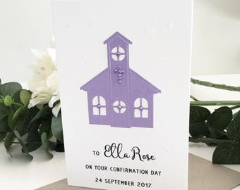 Girl Confirmation Card, Confirmation Gift, Holy Communion, First Communion, Custom Gift, Spiritual Gift, Personalised Gift, Celebration Card