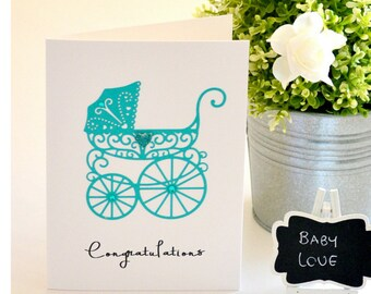 Congratulations Baby Pregnancy Card Boy or Girl Gender Neutral Baby Card, New Baby Gift, Vintage Style Pram Design Handmade The Paper Angel