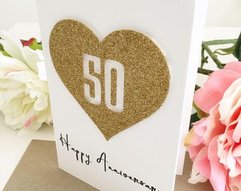 golden anniversary 50th anniversary card parents anniversary 50 years anniversary gift ideashusband card for wife wedding anniversary gifts - Wedding Anniversary Cards