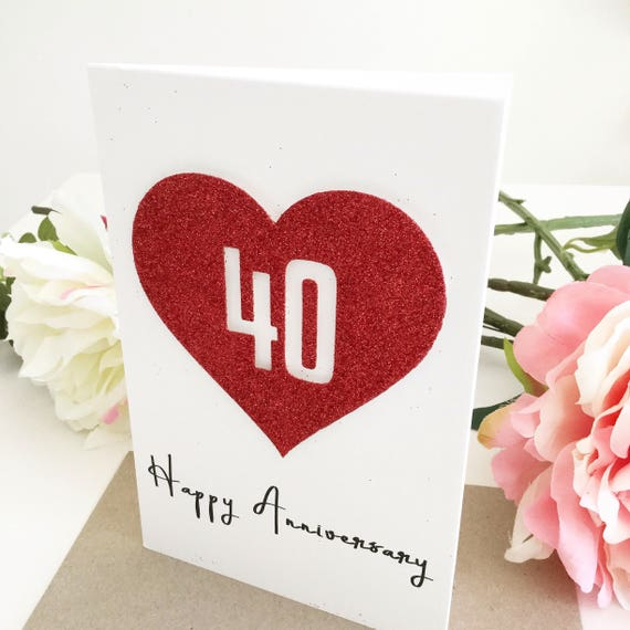 Australian Wedding Anniversary Gifts By Year: 40th Wedding Anniversary Card Ruby Wedding Anniversary