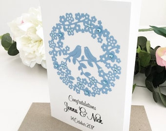 Blue Floral Wedding Card Wedding Congratulations Card Personalised Gift for couple Wedding Gift Ideas Unique Wedding Gift for Newlyweds
