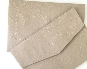 DIY Rustic Wedding Envelopes 10 Pk Cherry Blossom Embossed Kraft Brown A7 Envelopes Invitation Size 5x7 Inch envelopes Eco Friendly Recycled