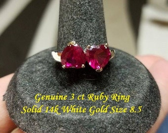 Genuine 6 ct Ruby Ring Solid 14k White Gold