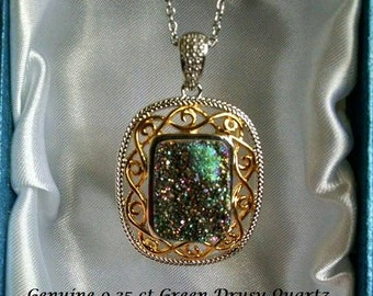 Green Drusy Quartz Pendant on 20 Inch Chain 14k Yellow Gold Overlay