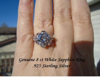 8 ct White Sapphire Ring Size 7 Or 8