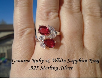 Genuine Ruby & White Sapphire Ring Size 7 Or 8