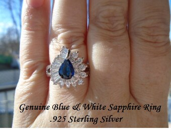 Genuine Aquamarine Or Blue & White Sapphire Ring