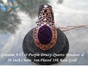 Purple Drusy Quartz Pendant on A 20 Inch Chain Rose Gold Overlay