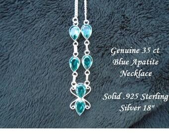 30 ct Blue Apatite Necklace