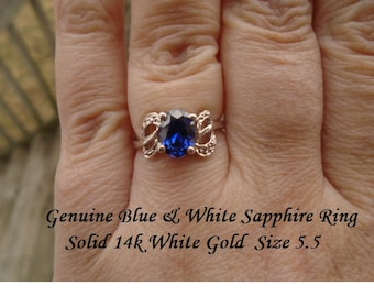 Genuine Blue & White Sapphire Ring Solid 14k White Gold