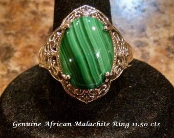 African Malachite Ring With Matching Pendant on 20 Inch Chain Platinum Overlay