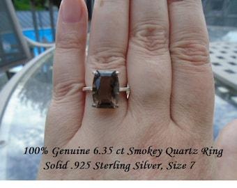 Genuine 6.35 ct Smokey Quartz Ring