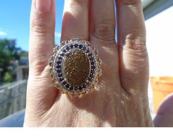 Bronze Drusy Quartz Ring With Smokey Quartz & Diamonds 8.64 cts Total