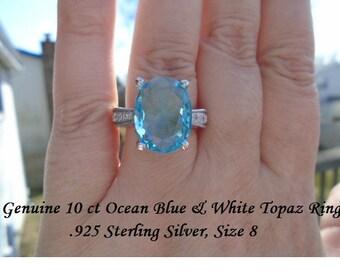 10 ct Ocean Blue & White Topaz Ring Size 8
