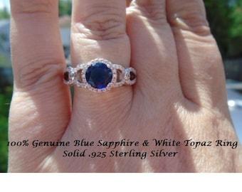 Genuine Blue Sapphire & White Topaz Ring Size 7