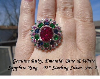 Genuine Ruby, Emerald, Blue & White Sapphire Ring SIZE 6 ONLY