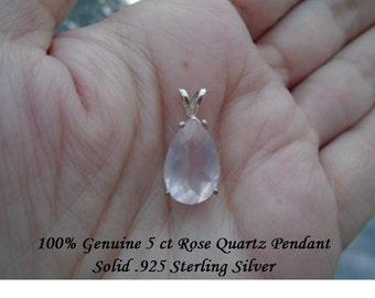 Genuine 5 ct Pear Cut Rose Quartz Pendant Solid .925 Sterling Silver