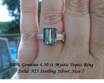 Genuine 4.30 ct Emerald Cut Mystic Topaz Ring Solid .925 Sterling Silver