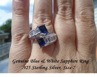 Blue & White Sapphire Ring Size 7