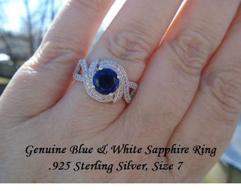 Genuine Blue & White Sapphire Ring Size 7